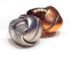 Crivelli rings at Octium Boutique  These two unique rings are White & Rose Gold with White Diamond inlay