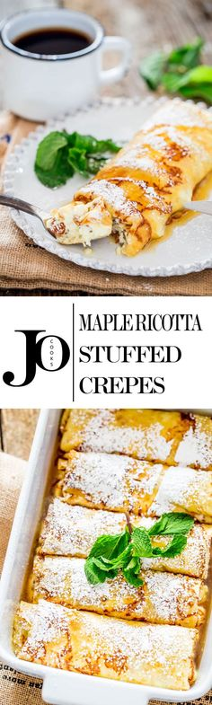 Maple Ricotta Stuffed Crepes - Tender and delicious crepes filled with a ricotta cheese and raisin filling, baked then topped with maple syrup. Make your next at-home-brunch the best one yet! Breakfast Crepes, Crepes And Waffles, Savory Crepes, Mexican Breakfast, Breakfast Sandwiches, Breakfast Bowls, Crepe Recipes, Brunch Recipes, Pancake Recipes