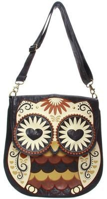 "NWT Loungefly Owl ""Hearts & Eyes"" Brown Leather Shoulder/Crossbody Bag"
