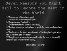 Seven Reasons Why you are NOT The Best in the World, The Dip, Seth Godin