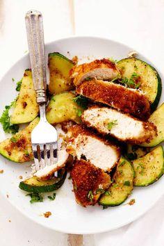 recette facile de poulet au parmesan à l'ail et aux courgettes