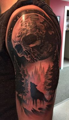 Skull Moon and Wolf Tattoo by Abby Lusk