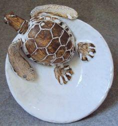 Sea Turtle Bowl Ceramic Sculpture