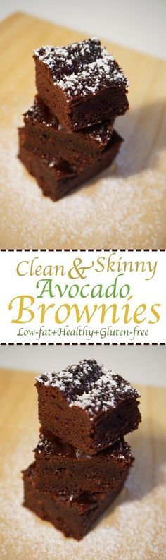 Clean& Skinny Healthy Avocado Brownies: low-fat, Gluten-free, Refined sugar-free. Fudgy and delicious brownies made with no butter or oil! super moist and really easy to make.