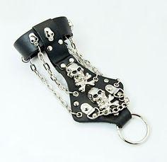 Skull Punk Rock Leather Ring Bracelets for Halloween from Pandahall.com