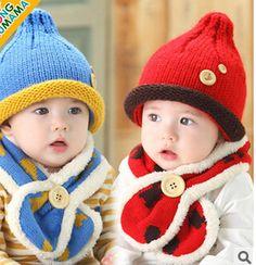 c0eeb6cf7e9 2015 Fashion Newborn Winter little bear Children Beanies Scarf Hat Set Baby  Boys Girls Knitted kids Hats Caps