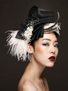 """Black And White"" created by Ayuko Hishikawa of ""Ms.Merry"", Tokyo Japan. #passion4hats"
