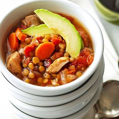 Chicken and lentils combine to make this slow cooker stew recipe one of our favorites! It makes a delicious dinner that is sure to warm you up and may just become one of your favorite dinner meals. And it's low fat and healthy!