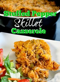 This 'one pot wonder' Stuffed Pepper Skillet Casserole by Posed Perfection is one of our go-to meals during busy weeknights!