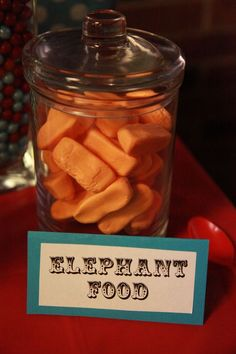 "Vintage Circus Birthday Party by Abbie Pari - ""elephant food"" candy buffet orange peanut marshmallow candies aqua and red birthday 
