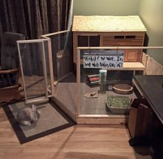 The ultimate bunny house. Diy Bunny Cage, Bunny Cages, Rabbit Cages, Diy Bunny Hutch, Indoor Rabbit House, House Rabbit, Rabbit Life, Pet Rabbit, Rabbit Enclosure