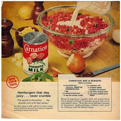 1959 Carnation Evaporated Milk - Carnation Bar-B-Burgers