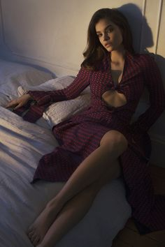 Posing in bed, Barbara Palvin wears Proenza Schouler dress