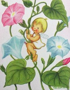 Eva Harta Greeting Note Card Angel Fairy & Flowers