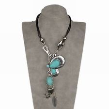 Vintage Beads Retro Tibetan Silver Turquoise Teardrop Butterfly Pendant Necklace