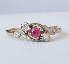 Art Nouveau / Edwardian Ruby and Diamond Ring - A Sweet Petite Ring - Promise Ring - July Birthstone - Mothers Day Gift! by Ringtique on Etsy