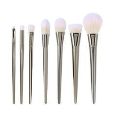 7pcs Silver Pro Makeup Brushes Cosmetics Set Soft Eyeshadow Eyebrow Brush Powder Foundation Face Brush Make Up Beauty Tools