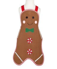 Adorable Kids Gingerbread Man Apron!  Perfect for holiday baking with kidlets!
