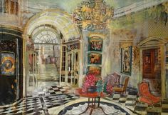 The Savoy, Upper Thames Foyer Savoy Hotel, Interior Rendering, Selling Art Online, High Art, Rainbow Colors, Art For Sale, Original Artwork, Saatchi Art, Contemporary Art