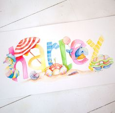 Hand Painting Art, Painting For Kids, Creative Lettering, Creative Art, Name Art Projects, Nautical Baby Nursery, Name Paintings, Paper Book, Nursery Art