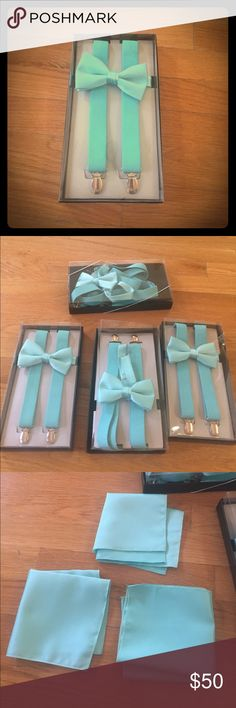 4 sets of turquoise bow tie and suspenders ++ 4 sets of men's bow ties and suspenders. They are turquoise and are a very close match to Davids bridal Spa color. One box was open to try on but not worn. Three matching handkerchiefs included. Not sure where 4th one went but you can cut one in half and stick in pockets anyway. And 4 sets of teal shoe laces included. They are darker than the bow tie sets but still look nice together. Accessories Ties