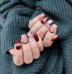 Minimalist Nails, Gel Nail Art Designs, Cute Nail Designs, Nail Swag, Stylish Nails, Trendy Nails, Rose Nails, My Nails, Drip Nails
