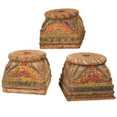 For Sale on - A set of three century column supports that most likely graced the courtyard of a haveli or mansion in Gujarat, India. These exceptional circa 1830 Indian Furniture, Cool Furniture, Columns For Sale, Wood Columns, Architectural Columns, Column Base, Moorish, Teak Wood, Painting On Wood