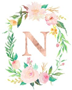 Floral Whimsy Monogrammed Wreath - Personalized Print n letter Floral Whimsy Monogrammed Wreath - Personalized Print Floral Wreath Watercolor, Gold Watercolor, Watercolor Lettering, Monogram Wallpaper, Alphabet Wallpaper, Print Wallpaper, Flower Background Wallpaper, Flower Backgrounds, Monogram Wreath