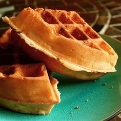 Easy waffles - swapped half of the flour for whole wheat and they tasted great