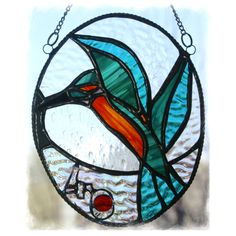 RESERVED for SARAH Kingfisher Picture Stained Glass Suncatcher  - Ruby Wedding £18.50