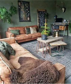 Beautiful warm colours - tan sofas, green walls