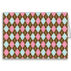 Pink and Brown Argyle Note Card