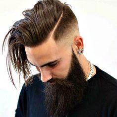 Long Hard Part Comb Over Fade + Full Long Beard