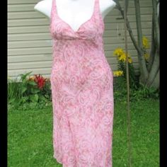 "Asymmetrical Paisley Midi Sheer flowy paisley print over solid pink lining. Sweetheart neckline is so flattering.  Measured flat 17"" across bust 37"" shorter side 47"" longer side On 36"" x 31"" x 36"" mani byer too! Dresses Midi"