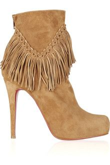 Christian Louboutin Rom 120 Fringed Suede Ankle Booties