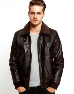 Men's Leather Jacket With Sheepskin Collar
