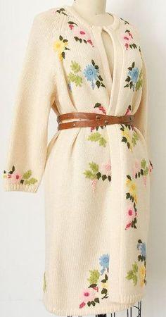 Embroidered Cream Cardigan