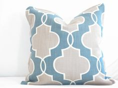 Modern Geo Teal and Tan Trellis Throw Pillow, 16x16 inch decorative pillow, pillow sets, pillow cover, cushion cover, Teal Pillow