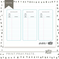 Print out these adorable oversize library cards by Allie Trumpower as afun tool to illustrate your faith! I love using these as a little journaling spot to document what I am learning in the word or as a list to document what scriptures I'm studying! The possibilities are endless! 1 8.5×11 PDF file will be included Digital Product Available For …