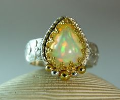 14k Gold Willow Opal Ring Sterling Silver by TazziesCustomJewelry