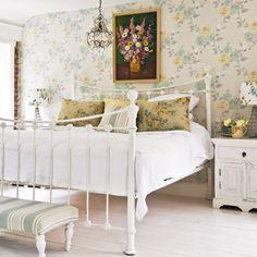 wallpaper & iron bed