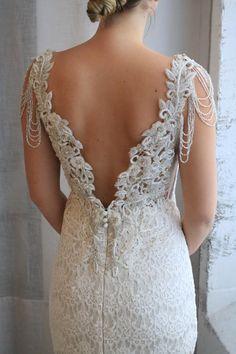 Anna Campbell Bridal | Saasha Embellished Wedding Dress | Modern lace wedding gown with beaded low back and shoulder details