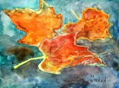 """... : """"Fall Leaves"""" Autumn Watercolor Paintings by Colorado Mary Arneson"""