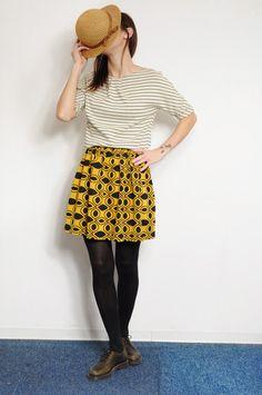 black and yellow vintage fabric skirt by GiraeRigira on Etsy, $48.00