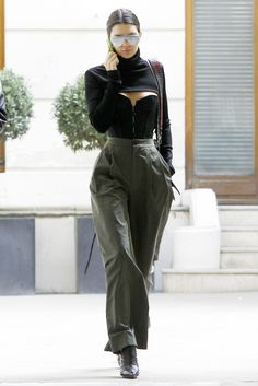 Zaid Affas high-neck crop top; L'Agent by Agent Provocateur Penelope Corset; Erika Cavallini Marlon Trousers; Givenchy ankle boots.