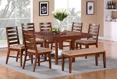 "Steve Silver Eden Casual Cherry Pedestal Dining Table with 16"" Leaf - Conlin's Furniture - Dining Room Table"
