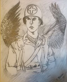 Combat medic with angelic wings Combat Medic, Wwii, Spirituality, Dragon, Medical, Angel, Drawings, Image, Art