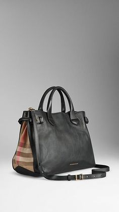 The Medium Banner in Leather and House Check from Burberry