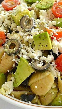 Delicious and simple Greek Avocado Pasta Salad. Recipe via wholeandheavenlyoven.com.