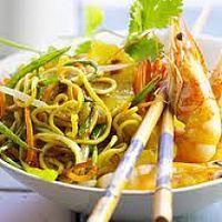 Gambas et légumes au wok
